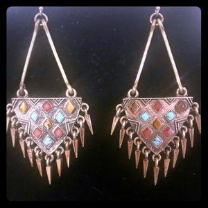 """Fossil gold triangle 3"""" drop earrings with stones"""